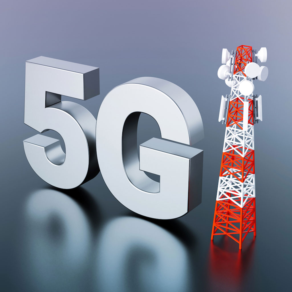 Five g icon next to a radio tower rendering
